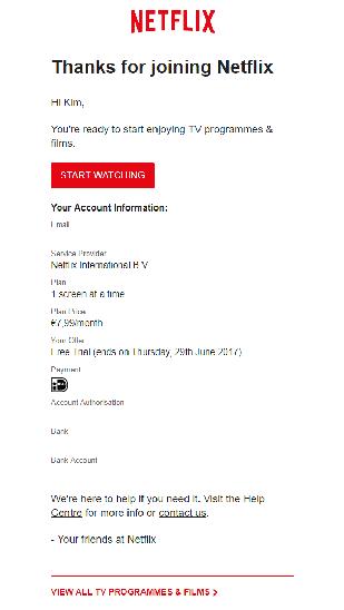 Netflix-mail 1 messaggio di benvenuto