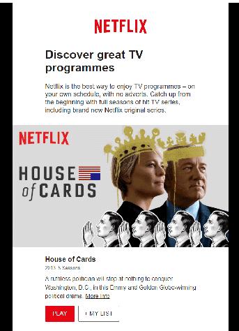 Netflix-mail 3 messaggio di benvenuto