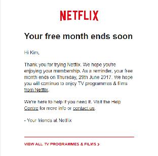 Netflix-mail 8 messaggio di benvenuto